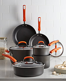 Rachael Ray Hard-Anodized 10 Piece Cookware Set, Orange