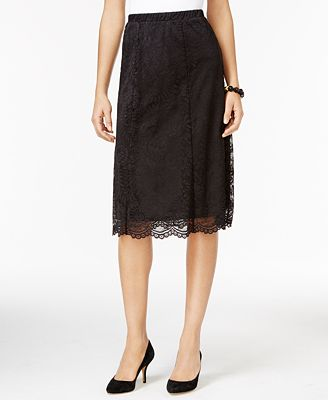NY Collection Petite Lace A-Line Midi Skirt - Skirts - Women - Macy's