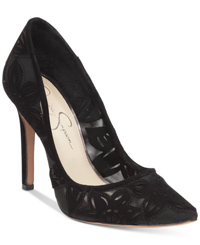Jessica Simpson Charese Mesh & Floral Detail Evening Pumps