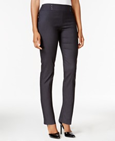 JM Collection Petite Short Studded Pull-On Pants, Created for Macy's