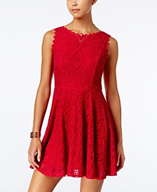 Juniors' Lace Fit & Flare Dress