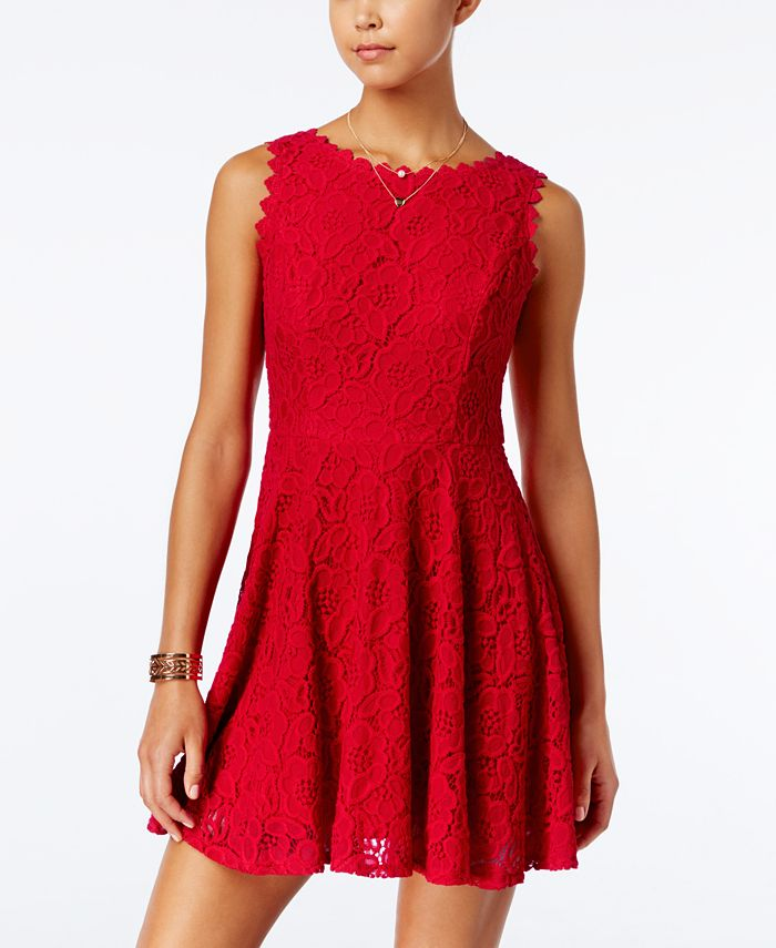 City Studios - Juniors' Lace Fit-and-Flare Dress