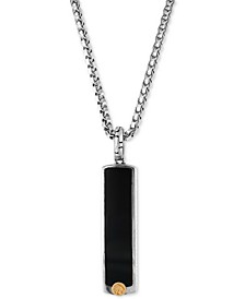 EFFY® Men's Onyx (33-1/2 x 7-1/2mm) Pendant Necklace in Sterling Silver and 18k Gold