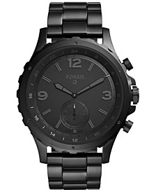 Fossil Q Men's Nate Black Stainless Steel Hybrid Smart Watch 50MM FTW1115