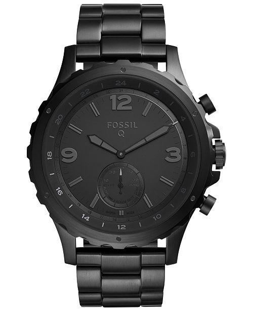 Fossil Q Men S Nate Black Stainless Steel Hybrid Smart Watch 50mm Ftw1115