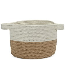 "15"" x 12"" Two-Tone Strap Storage Basket"