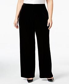 Plus Size Velvet Wide-Leg Pants, Created for Macy's