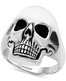 EFFY® Men's Skull Ring in Sterling Silver and Black Rhodium-Plate