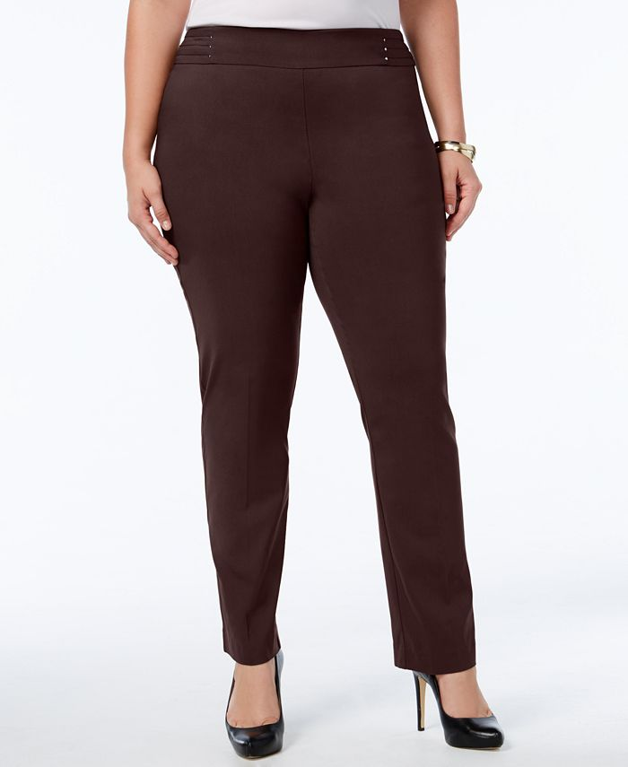 JM Collection - Plus Size Pull-On Slim-Leg Pants