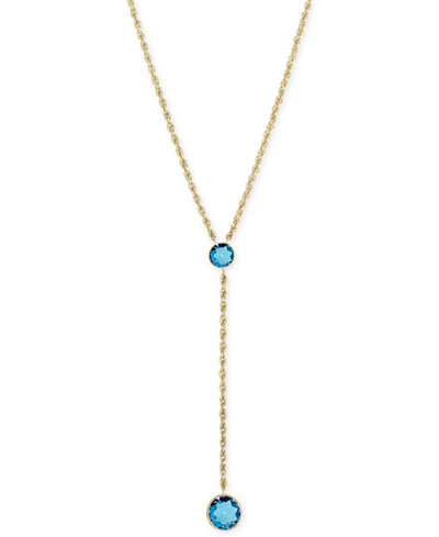 Blue Topaz Lariat Necklace (3-1/6 ct. t.w.) in 14k Gold