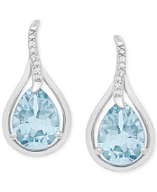 Aquamarine (1-7/8 ct. t.w.) and Diamond Accent Teardrop Stud Earrings in 14k White Gold