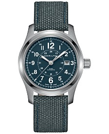 Hamilton Men's Swiss Automatic Khaki Field Blue Canvas Strap Watch 42mm H70605943