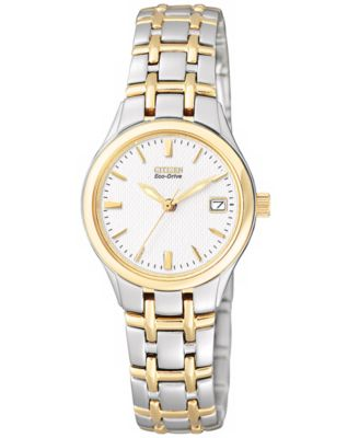 Image of Citizen Women's Eco-Drive Two Tone Stainless Steel Bracelet Watch 25mm EW1264-50A