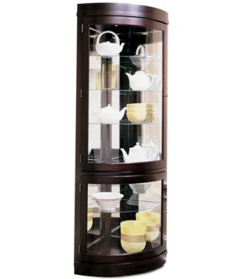 Contemporary Curved Corner Curio Cabinet - Furniture - Macy's