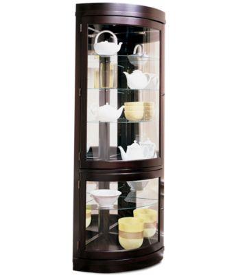 main image; main image ...  sc 1 st  Macyu0027s & Furniture Contemporary Curved Corner Curio Cabinet - Furniture - Macyu0027s
