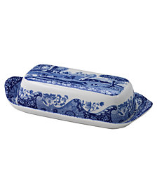 Spode Dinnerware, Blue Italian Covered Butter Dish