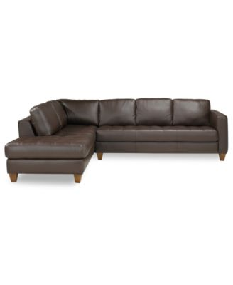 milano leather 2piece chaise sectional sofa