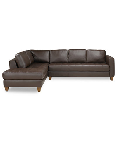 Milano Leather 2 Piece Chaise Sectional Sofa Furniture Macy 39 S
