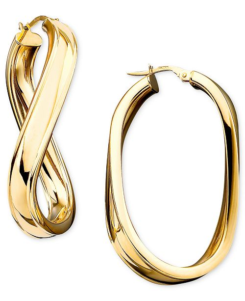 Italian Gold Twisted Oval Hoop Earrings in 14k Gold