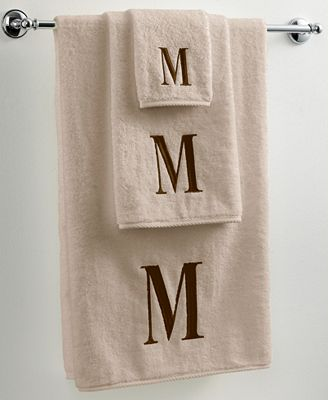 Avanti Bath Towels, Monogram Initial Linen and Brown Collection