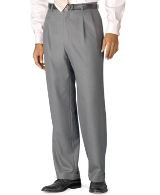 Big and Tall 100% Wool Double-Reverse Pleated Dress Pants