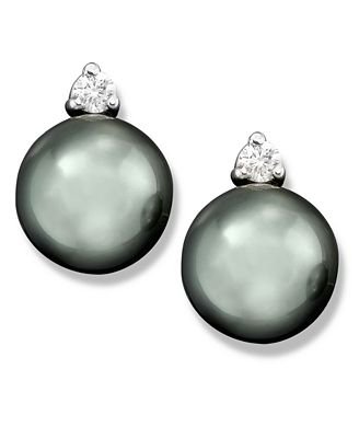 Cultured Tahitian Black Pearl (8mm) and Diamond (1/10 ct. t.w.) Stud Earrings in 14k White Gold