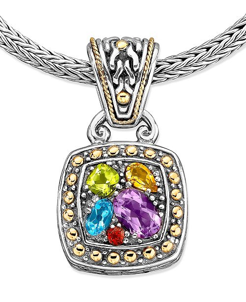 EFFY Collection Balissima by EFFY Multistone Square Pendant (1-5/8 ct. t.w.) in 18k Gold and Sterling Silver