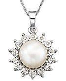 Cultured Freshwater Pearl 8mm and Diamond Accent Pendant Necklace in 10k White Gold