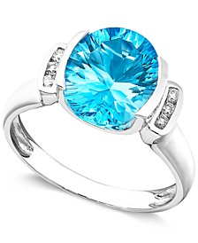 14k White Gold Ring, Blue Topaz (3-5/8 ct. t.w.) and Diamond Accent