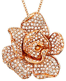 Pavé Rose by EFFY Diamond Flower Pendant Necklace in 14k Rose Gold (1 1/3 ct. t.w.)