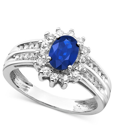 Sapphire (1 ct. t.w.) and Diamond (1/3 ct. t.w.) Ring in 14k White Gold
