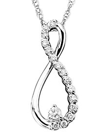 Diamond Infinity Necklace in 10k White Gold (1/10 ct. t.w.)
