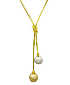 Majorica Sterling Silver Necklace, Organic Man-Made Baroque Pearl Love Knot Lariat