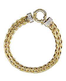 14k Gold Bracelet, Diamond Spiga (1/8 ct. t.w.)