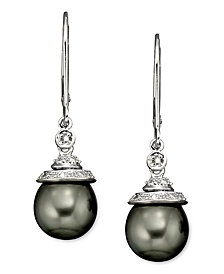 Tahitian Pearl and Diamond Accent Earrings in 14k Gold and Sterling Silver (7mm)