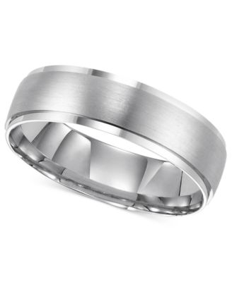 White Gold Wedding Band.14k White Gold Brushed Finish 6mm Wedding Band