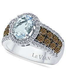 Le Vian Aquamarine (1-3/8 ct. t.w.) and Diamond (3/4 ct. t.w.) in 14k White Gold