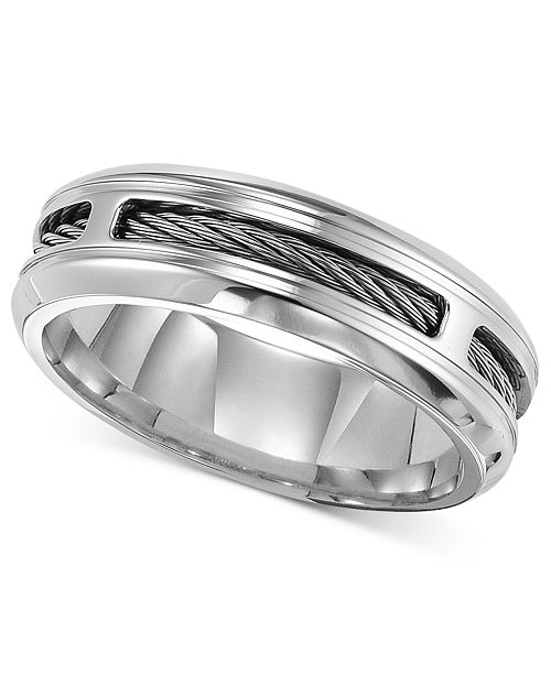 triton men s stainless steel ring comfort fit cable wedding band