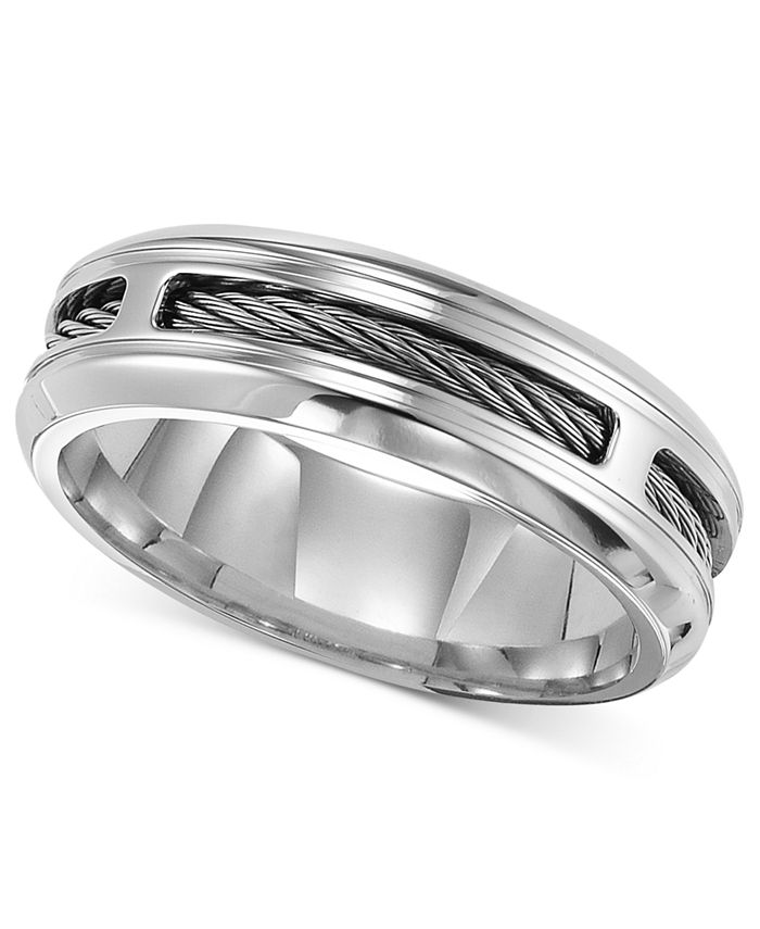 Triton - Men's Stainless Steel Ring, Comfort Fit Cable Wedding Band