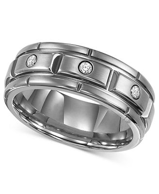 Triton Men S Titanium Ring Three Diamond Wedding Band 1 10 Ct