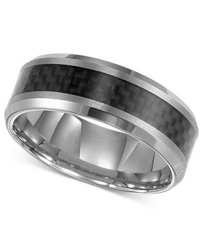 triton mens tungsten carbide ring black carbon fiber stripe wedding band