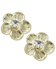 Children's 14k Gold Earrings, Cubic Zirconia Accent Flower Stud