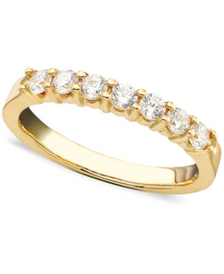 Seven Diamond Band Ring in 14k Yellow or White Gold 1 2 ct t w
