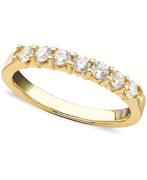 Macy's Seven Diamond Band Ring in 14k Yellow or White Gold (1/2 ct. t.w.)