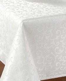 "Lenox Opal Innocence 60"" x 140"" Oblong Platinum Tablecloth"
