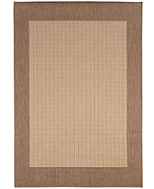 "CLOSEOUT! Recife Checkered Field Natural/Cocoa 2'3"" x 7'10"" Indoor/Outdoor Runner"