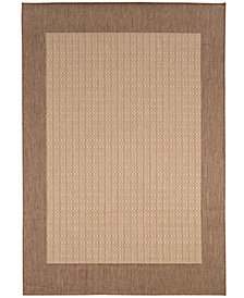 "CLOSEOUT! Couristan Area Rug, Indoor/Outdoor Recife Collection Checkered Field Natural-Cocoa 5' 3"" x 7' 6"""