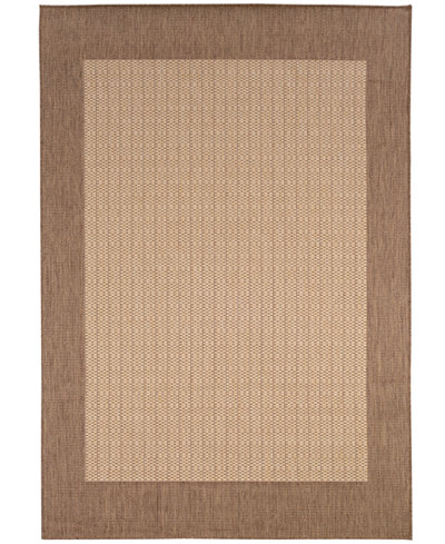 CLOSEOUT! Couristan Area Rug, Indoor/Outdoor Recife Collection Checkered Field Natural-Cocoa 5' 3