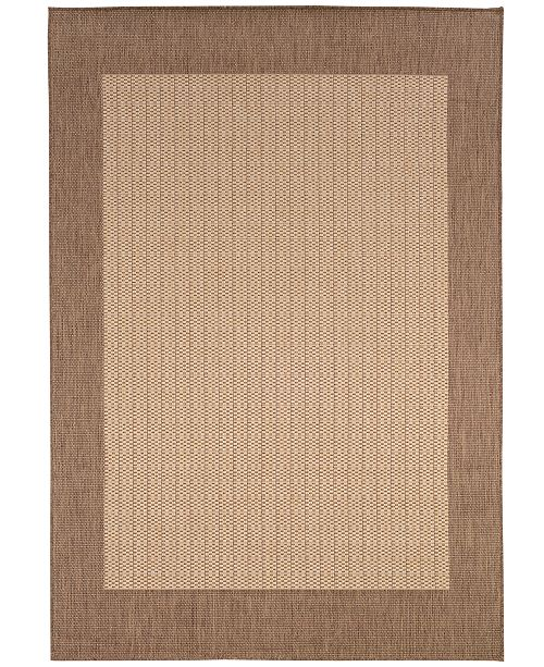 "Couristan CLOSEOUT! Area Rug, Indoor/Outdoor Recife Collection Checkered Field Natural-Cocoa 5' 3"" x 7' 6"""