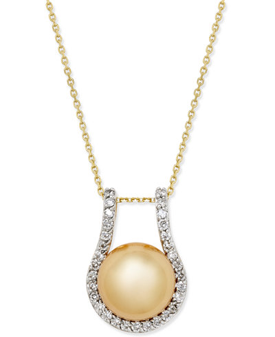 Cultured Golden South Sea Pearl (12mm) and Diamond (5/8 ct. t.w.) Pendant Necklace in 14k Gold
